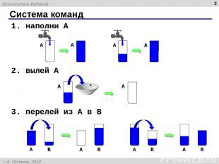 * Система команд 1. наполни A 2. вылей A 3. перелей из A в B A A Исполнитель Вод