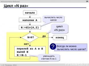 Цикл «N раз» * начало конец N=0? наполни A перелей из A в B вылей B N:=N-1 цикл