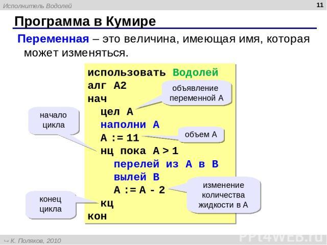 Программа в Кумире * использовать Водолей алг А2 нач цел А наполни A A := 11 нц пока A > 1 перелей из A в B вылей B A := A - 2 кц кон начало цикла конец цикла объем А объявление переменной А Переменная – это величина, имеющая имя, которая может изме…
