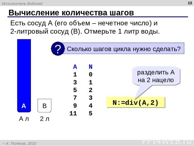 Вычисление количества шагов * Есть сосуд A (его объем – нечетное число) и 2-литровый сосуд (B). Отмерьте 1 литр воды. A N 1 0 3 1 5 2 7 3 9 4 11 5 N:=div(A,2) разделить A на 2 нацело Исполнитель Водолей К. Поляков, 2010 http://kpolyakov.narod.ru