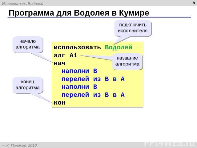 Программа для Водолея в Кумире * использовать Водолей алг А1 нач наполни B перелей из B в A наполни B перелей из B в A кон начало алгоритма конец алгоритма подключить исполнителя название алгоритма Исполнитель Водолей К. Поляков, 2010 http://kpolyak…