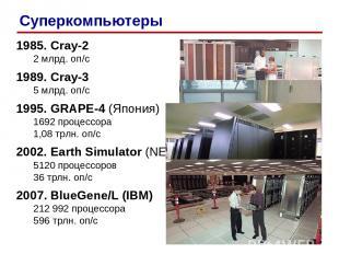 1985. Cray-2 2 млрд. оп/c 1989. Cray-3 5 млрд. оп/c 1995. GRAPE-4 (Япония) 1692