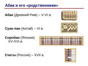 Абак (Древний Рим) – V-VI в. Суан-пан (Китай) – VI в. Соробан (Япония) XV-XVI в.