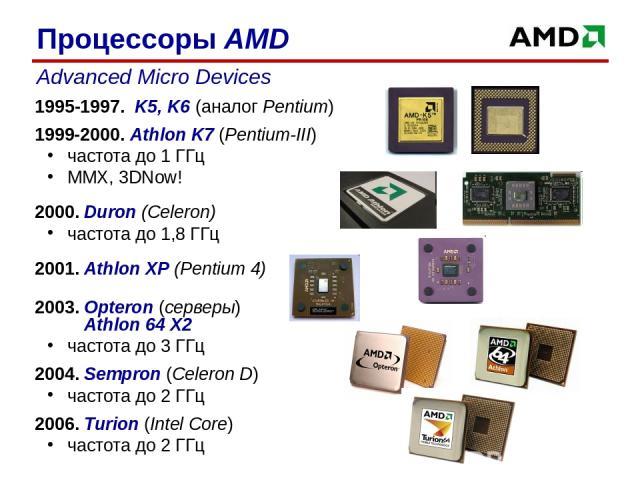 1995-1997. K5, K6 (аналог Pentium) 1999-2000. Athlon K7 (Pentium-III) частота до 1 ГГц MMX, 3DNow! 2000. Duron (Celeron) частота до 1,8 ГГц 2001. Athlon XP (Pentium 4) 2003. Opteron (серверы) Athlon 64 X2 частота до 3 ГГц 2004. Sempron (Celeron D) ч…