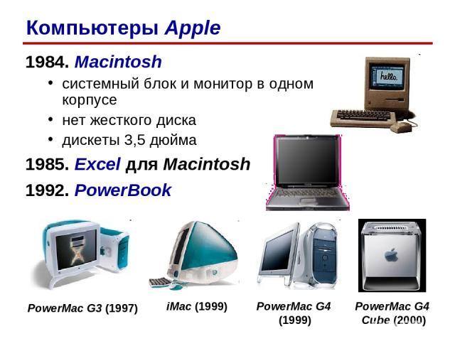 1984. Macintosh системный блок и монитор в одном корпусе нет жесткого диска дискеты 3,5 дюйма 1985. Excel для Macintosh 1992. PowerBook Компьютеры Apple