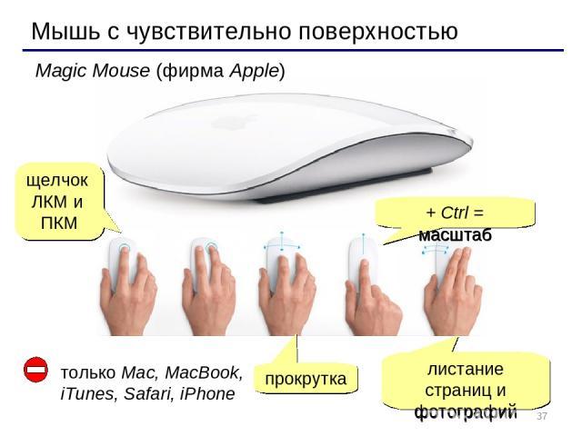 * Мышь с чувствительно поверхностью Magic Mouse (фирма Apple) щелчок ЛКМ и ПКМ прокрутка листание страниц и фотографий + Ctrl = масштаб только Mac, MacBook, iTunes, Safari, iPhone