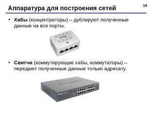 * Аппаратура для построения сетей Хабы (концентраторы) – дублируют полученные да