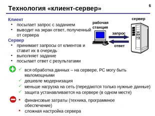 * Технология «клиент-сервер» Клиент посылает запрос с заданием выводит на экран
