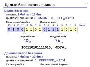 * Целые беззнаковые числа Целое без знака память: 2 байта = 16 бит диапазон знач