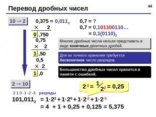* Перевод дробных чисел 10 2 2 10 0,375 = 2 101,0112 2 1 0 -1 -2 -3 разряды = 1·