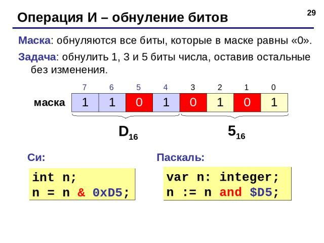 * Операция И – обнуление битов Маска: обнуляются все биты, которые в маске равны «0». Задача: обнулить 1, 3 и 5 биты числа, оставив остальные без изменения. маска D16 516 Си: Паскаль: int n; n = n & 0xD5; var n: integer; n := n and $D5; 1 1 0 1 0 1 …