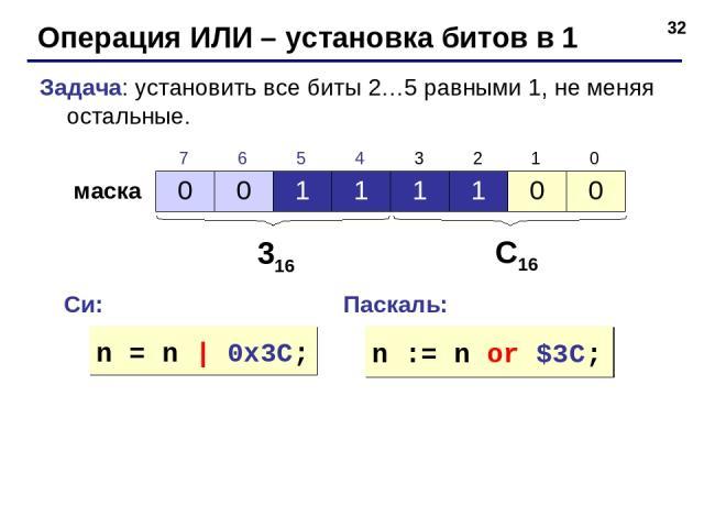 * Операция ИЛИ – установка битов в 1 Задача: установить все биты 2…5 равными 1, не меняя остальные. маска 316 С16 Си: Паскаль: n = n | 0x3C; n := n or $3C; 0 0 1 1 1 1 0 0 7 6 5 4 3 2 1 0
