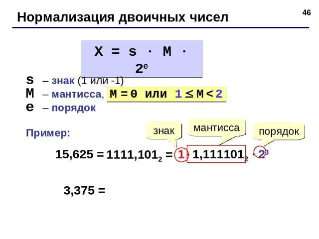 * Нормализация двоичных чисел X = s M 2e s – знак (1 или -1) M – мантисса, e – порядок M = 0 или 1 M < 2 15,625 = 1111,1012 = 1 1,1111012 23 знак порядок мантисса 3,375 = Пример: