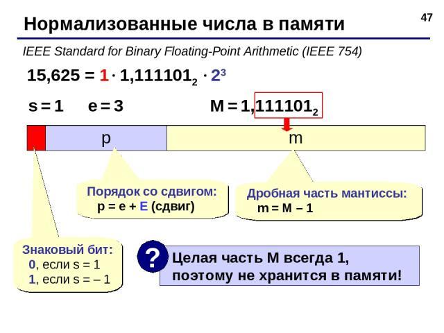 * Нормализованные числа в памяти IEEE Standard for Binary Floating-Point Arithmetic (IEEE 754) 15,625 = 1 1,1111012 23 s = 1 e = 3 M = 1,1111012 Знаковый бит: 0, если s = 1 1, если s = – 1 Порядок со сдвигом: p = e + E (сдвиг) Дробная часть мантиссы…