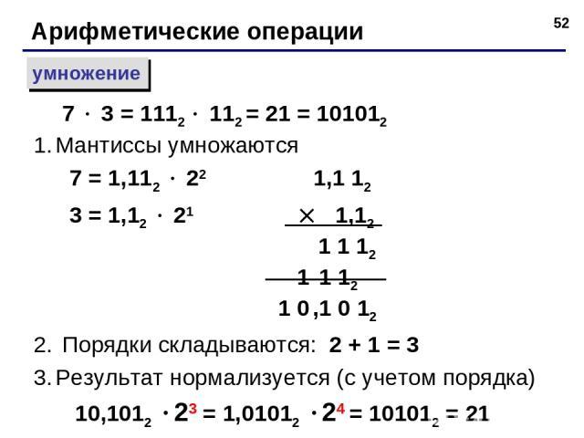 * Арифметические операции умножение Мантиссы умножаются 7 = 1,112 22 1,1 12 3 = 1,12 21 1,12 1 1 12 1 1 12 1 0 ,1 0 12 Порядки складываются: 2 + 1 = 3 Результат нормализуется (с учетом порядка) 10,1012 23 = 1,01012 24 = 101012 = 21 7 3 = 1112 112 = …