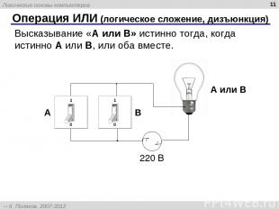 * Операция ИЛИ (логическое сложение, дизъюнкция) Высказывание «A или B» истинно