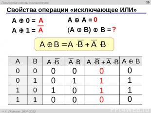 * Свойства операции «исключающее ИЛИ» A A = (A B) B = A 0 = A 1 = A 0 ? A B А B