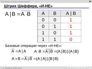 * Штрих Шеффера, «И-НЕ» Базовые операции через «И-НЕ»: A B А | B 0 0 1 0 1 1 1 0