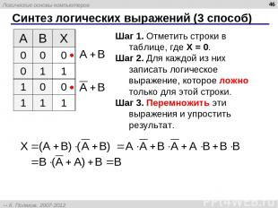 Синтез логических выражений (3 способ) * Шаг 1. Отметить строки в таблице, где X