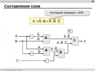 Составление схем * последняя операция - ИЛИ & И Логические основы компьютеров К.