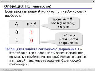 * Операция НЕ (инверсия) Если высказывание A истинно, то «не А» ложно, и наоборо