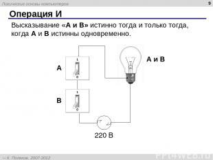 * Операция И Высказывание «A и B» истинно тогда и только тогда, когда А и B исти