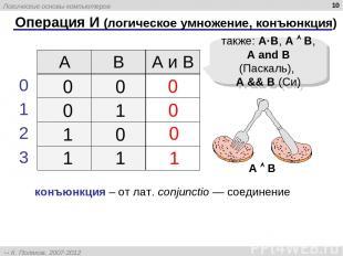 * Операция И (логическое умножение, конъюнкция) 1 0 также: A·B, A B, A and B (Па
