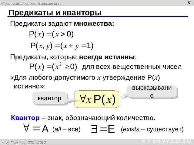Предикаты и кванторы * Предикаты задают множества: Предикаты, которые всегда истинны: для всех вещественных чисел «Для любого допустимого x утверждение P(x) истинно»: высказывание квантор Квантор – знак, обозначающий количество. А (all – все) E (exi…