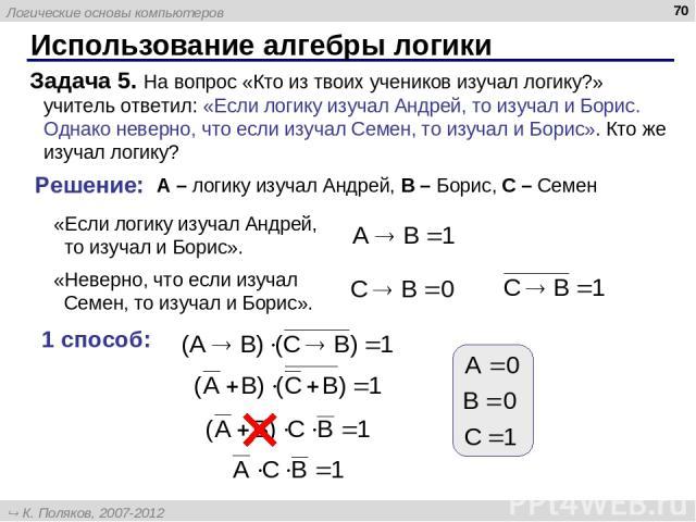 Использование алгебры логики * Задача 5. На вопрос «Кто из твоих учеников изучал логику?» учитель ответил: «Если логику изучал Андрей, то изучал и Борис. Однако неверно, что если изучал Семен, то изучал и Борис». Кто же изучал логику? Решение: A – л…