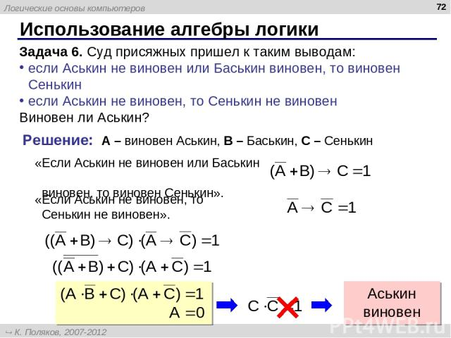 Использование алгебры логики * Задача 6. Суд присяжных пришел к таким выводам: если Аськин не виновен или Баськин виновен, то виновен Сенькин если Аськин не виновен, то Сенькин не виновен Виновен ли Аськин? Решение: A – виновен Аськин, B – Баськин, …