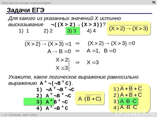 Задачи ЕГЭ * Для какого из указанных значений X истинно высказывание ¬((X > 2)→(X > 3))? 1) 1 2) 2 3) 3 4) 4 Укажите, какое логическое выражение равносильно выражению A ¬(¬B C). 1) ¬A ¬B ¬C 2) A ¬B ¬C 3) A B ¬C 4) A ¬B C Логические основы компьютеро…