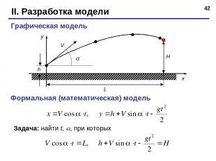 * II. Разработка модели Графическая модель h Формальная (математическая) модель