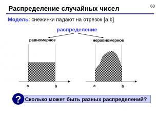 * Распределение случайных чисел Модель: снежинки падают на отрезок [a,b] распред