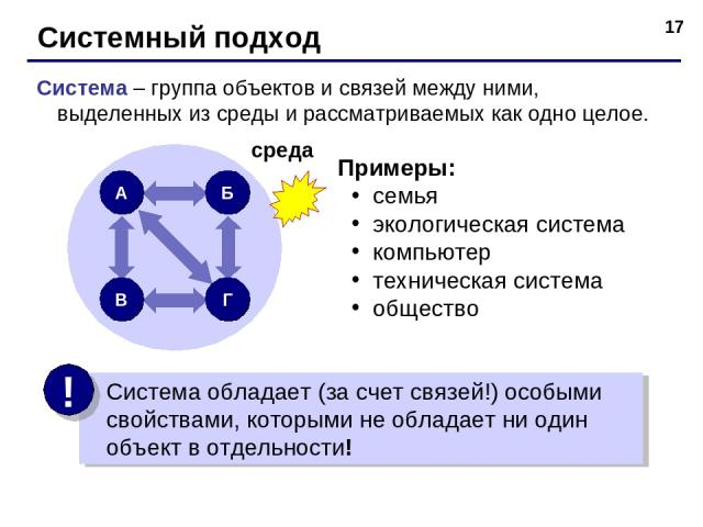 * Системный подход Система – группа объектов и связей между ними, выделенных из среды и рассматриваемых как одно целое. Примеры: семья экологическая система компьютер техническая система общество среда