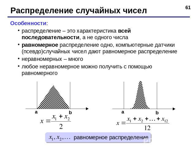 * Распределение случайных чисел Особенности: распределение – это характеристика всей последовательности, а не одного числа равномерное распределение одно, компьютерные датчики (псевдо)случайных чисел дают равномерное распределение неравномерных – мн…