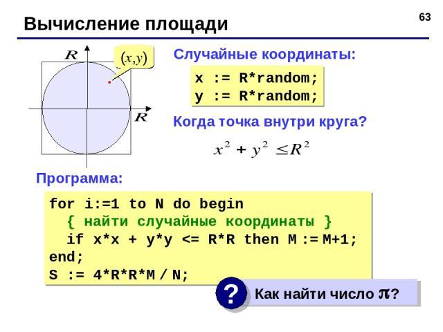 * Вычисление площади Когда точка внутри круга? (x,y) Случайные координаты: x := R*random; y := R*random; Программа: for i:=1 to N do begin { найти случайные координаты } if x*x + y*y