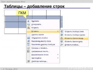 Таблицы – добавление строк ПКМ Текстовый процессор Word К. Поляков, 2012 http://