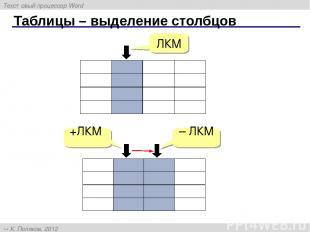 Таблицы – выделение столбцов – ЛКМ +ЛКМ ЛКМ Текстовый процессор Word К. Поляков,