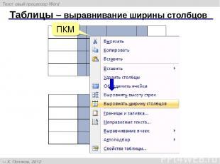 Таблицы – выравнивание ширины столбцов ПКМ Текстовый процессор Word К. Поляков,