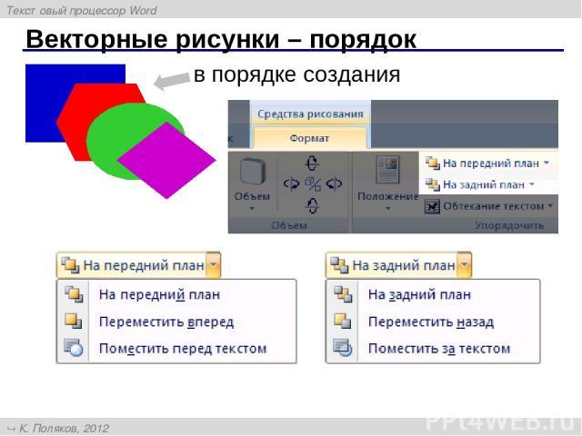 Векторные рисунки – порядок в порядке создания Текстовый процессор Word К. Поляков, 2012 http://kpolyakov.narod.ru