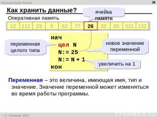 Как хранить данные? * Оперативная память 12 112 23 5 62 77 812 32 65 321 132 яче