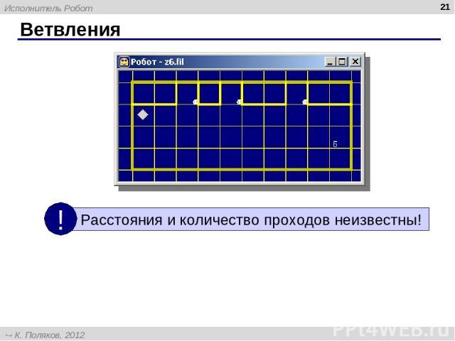 Ветвления * Исполнитель Робот К. Поляков, 2012 http://kpolyakov.narod.ru
