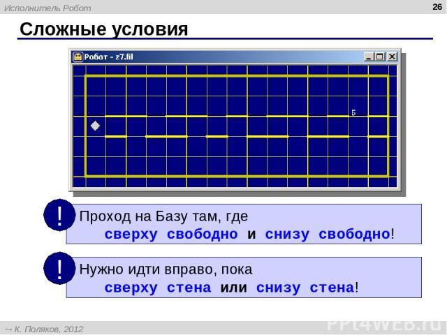 Сложные условия * Исполнитель Робот К. Поляков, 2012 http://kpolyakov.narod.ru