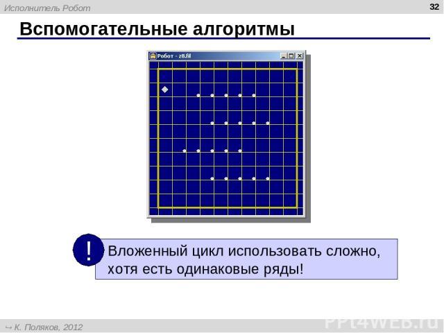 Вспомогательные алгоритмы * Исполнитель Робот К. Поляков, 2012 http://kpolyakov.narod.ru