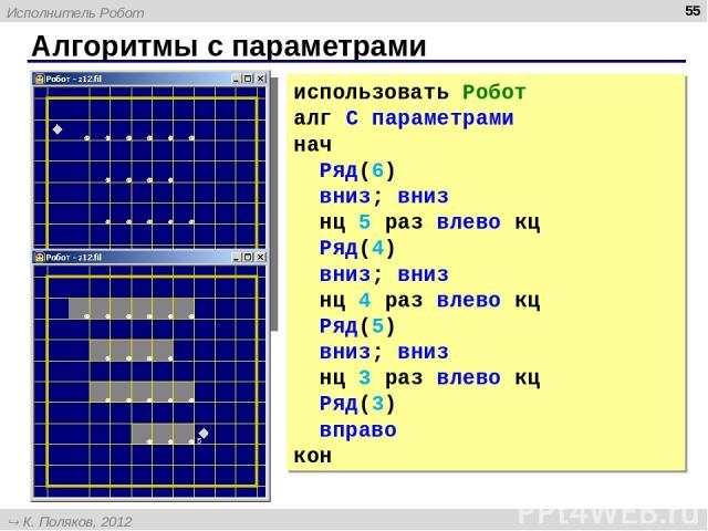 Алгоритмы с параметрами * использовать Робот алг С параметрами нач Ряд(6) вниз; вниз нц 5 раз влево кц Ряд(4) вниз; вниз нц 4 раз влево кц Ряд(5) вниз; вниз нц 3 раз влево кц Ряд(3) вправо кон Исполнитель Робот К. Поляков, 2012 http://kpolyakov.narod.ru