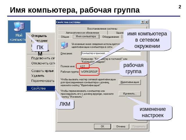 * Имя компьютера, рабочая группа ПКМ ЛКМ имя компьютера в сетевом окружении рабочая группа изменение настроек