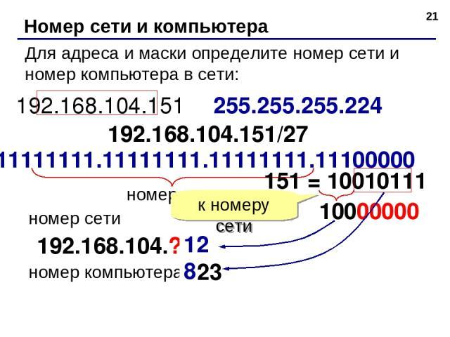 * Номер сети и компьютера Для адреса и маски определите номер сети и номер компьютера в сети: 192.168.104.151 255.255.255.224 192.168.104.151/27 11111111.11111111.11111111.11100000 номер сети 192.168.104.? номер сети номер компьютера 151 = 10010111 …