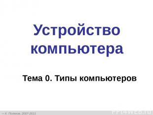 Устройство компьютера Тема 0. Типы компьютеров К. Поляков, 2007-2011 http://kpol