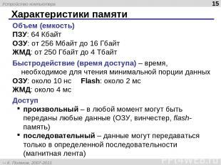 Характеристики памяти * Объем (емкость) ПЗУ: 64 Кбайт ОЗУ: от 256 Мбайт до 16 Гб