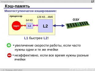 Кэш-память * увеличение скорости работы, если часто нужны одни и те же ячейки не
